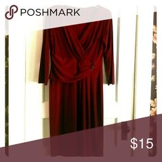 Chaps dress Red 3/4 sleeve flattering gathered waistline  sleeve 18 inches, bust 36 inches , length 41 inches 95%polyester , 5%spandex Chaps Dresses Midi