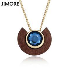 [JIMORE] 2017 Vintage Wood Faux Gem Stone Pendant Sweater Necklaces for Women Accessories Collares Necklaces & Pendants ANN458 #Affiliate