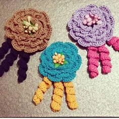 Crochet Flowers, Crochet Necklace, Jewelry, Fashion, Jewlery, Moda, Crochet Collar, Jewels, La Mode