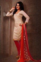 Off White & Pink Short Salwar Suit With Designed Dupatta