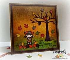 """Fall Thankful card featuring Miss Kate Cuttables and Mama Elephant """"In My Heart"""" stamp Set. September 2014."""