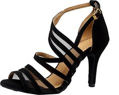 Abby Q-7036 Womens Sexy Latin Tango Ballroom Dance Party wedding Peep-toe Cloth Dance-shoes Black M US Size8 * Read more  at the image link.