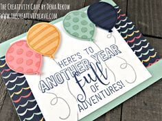 Check out the video tutorial for this card plus more ideas on my blog: www.thecreativitycave.com using Stampin Up's Balloon Adventure Stamp Set #stampinup #thecreativitycave #balloonadventure