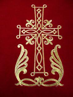 Новости Gold Embroidery, Machine Embroidery Applique, Embroidery Patterns, Catholic Art, Religious Art, Cross Coloring Page, Cross Stitch Geometric, Cross Art, Christian Symbols