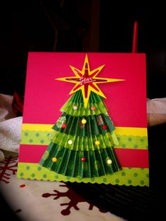 Pleated circles are a huge hit, so using that concept & my Martha Stewart score bored I attempted a Christmas tree... um... well... it's ok I guess LOL!