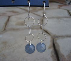 Earrings-dangly silver grey #handmadejewelry