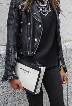 A statement necklace with your leather jacket.