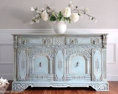 Antique Ornate Jacobean Hand Painted French Country Shabby Chic Victorian Aqua Pastel Blue Green Buffet Sideboard - March 16 2019 at Shabby Chic Living Room Furniture, Shabby Chic Bedrooms, Shabby Chic Homes, Shabby Chic Decor, Painted Wardrobe, Painted Sideboard, Sideboard Table, Painted Dressers, Antique Buffet