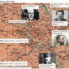 Hitler, Trotski, Tito, Freud e Stalin viveram no mesmo lugar, em 1913. Mapa Viena 1913-1914 | Foto: BBC