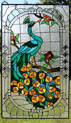 "Beveled Peacocks Stained Glass Window #358 | Stained Glass and More, Inc. 34"" x 20"""