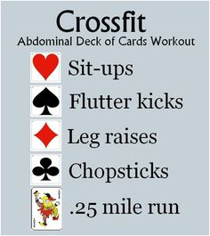 Crossfit Abdominal Deck of Cards Workout. The # on the card represents the # of reps. Aces represent a one minute rest. Running Workouts, Fun Workouts, At Home Workouts, Fitness Nutrition, Fitness Tips, Fitness Motivation, Card Workout, Dumbbell Workout, Fitness Watch