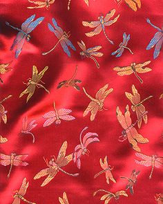 Chinese brocade dragonfly red with blue fabric