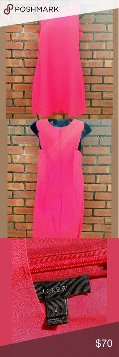 """J. Crew Pink Scalloped Sleevless Shift Dress Beautiful bright pink J. Crew dress with Scalloped accents around the neck, sleeve, and bottom. Chest measures 18"""". No rips, holes, tears, or stains. J. Crew Dresses Midi"""