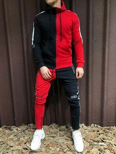 Two Pieces Set Men Half Black Half White Sports Sweatsuit Mens Tracksuit Set, Track Suit Men, Casual Wear For Men, Winter Hoodies, Sweater Hoodie, Hooded Sweatshirts, Street Wear, Men Street, Sweatpants