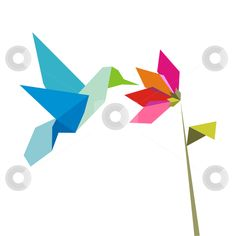 Origami flower and hummingbird on white stock vector clipart, Origami pastel colors hummingbird and flower on white background. Vector file ...