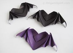 Origami Heart With Bat Wings. Origami tutorial on how to fold a heart-shaped dish with heart wings. Great for Halloween or for a spooky Valentines. Origami Halloween, Halloween Bats, Halloween Decorations, Heart Origami Tutorial, Origami Instructions, Origami Paper Art, Diy Origami, Origami Frog, Origami Boxes
