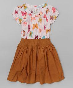 Pink & Tan Butterfly Shirred Dress - Toddler & Girls on #zulily! #zulilyfinds