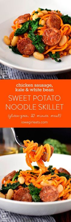 Chicken Sausage, Kale and White Bean Sweet Potato Noodle Skillet is a quick and healthy gluten-free dinner recipe. Ready in 20 minutes or less and full of protein, fiber, and vitamins! | iowagirleats.com