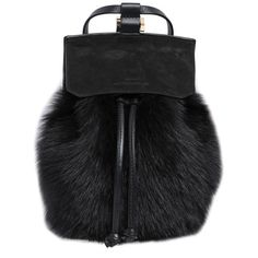 DESA NINETEENSEVENTYTWO Two Suede & Leather Backpack W/ Lamb Fur (£340) ❤ liked on Polyvore featuring bags, backpacks, black, backpacks bags, suede bag, black backpack, black flap backpack and knapsack bags