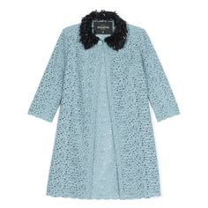 Giulietta: Celeste Lace Jacket With Beaded Collar ($2,300) ❤ liked on Polyvore featuring outerwear, coats, jackets, coats & jackets, sequin coat, collar coat, lace coats and blue coat