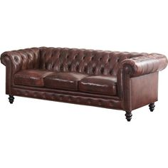House of Hampton Tunbridge Wells Top Grain Leather Sofa Upholstery: Brown Brown Leather Couch, Rolled Arm Sofa, Brown Leather Sofa, Sofa, Furniture, Living Room Leather, Leather Living Room Furniture, Chic Sofa, Leather Furniture