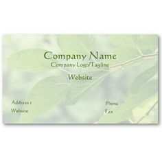 'SUMMER LEAVES WITH RAINDROPS' BUSINESS CARD, by The Flying Pig Gallery on Zazzle (lizadeyphoto) - This 'Summer Leaves' Business Card is ideal for Landscapers, Gardeners, Spas, Holistic Practitioners or any businesses emphasizing the outdoors or a healthful, green lifestyle. Text may be customized according to your needs.
