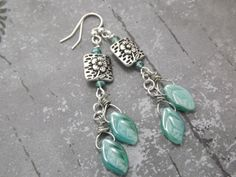 Teal Czech Leaves and Antiqued Silver Earrings by MeLadyJewelry