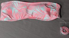 NWT Forever 21 Women's Swimwear Bandeau Aloha Style Pink Palm Leaves Size Small #FOREVER21 #BikiniTop