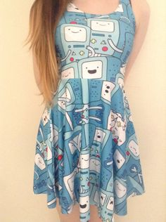 Hey, I found this really awesome Etsy listing at https://www.etsy.com/listing/190226374/bmo-beemo-adventure-time-cute-blue-dress