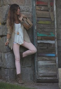 Boho Chic.- loving the blush colored skinnies! Def getting some!