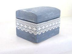 Caixa do anel de casamento personalizado, rústico chique portador do anel de madeira