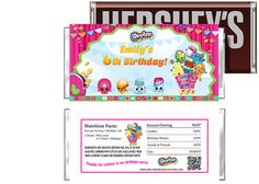 Shopkins Birthday Candy Bar Wrappers Party Favors