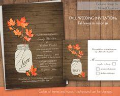 Fall Wedding Invitations  Rustic Mason Jar by NotedOccasions, $50.00