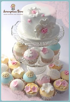 Vintage Lace Wedding Cupcake Tower from Scrumptious Buns, UK