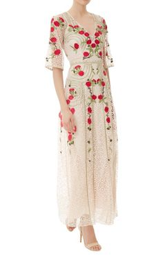 The Long Antila Dress features poppy-hued satin-stitch flowers and gold embroidery detailing that adorn the body on cream open-weave geometric lace. by Temperley London