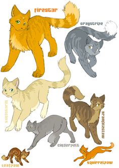 Warriors by Erin Hunter| Firestar, Graystripe, Sandstorm, Brambleclaw, Cinderpelt, Squirrelflight Leafpool are in this picture.