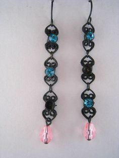 MACY'S Dangling Blue Zircon Rhinestone Earrings NEW in Leatherette Jewelry Box