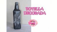 Como decorar una botella con material reciclado muy facil.  Con cascara ...