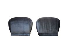 Pair of Karl Springer Style Souffle Pouf Ottomans