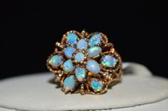 ESTATE 14K YELLOW GOLD 1.75CTW OPAL RING-SIZE 6.5-585-VINTAGE DOME SETTING