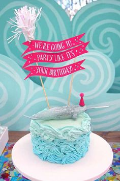 Take a look at this magical narwal-themed birthday party! The cake is so impressive! See more party ideas and share yours at CatchMyParty.com