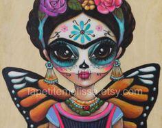Frida Mariposa- Frida Kahlo inspired illustration, Butterfly, whimsical art print by Melissa Victoria Nebrida