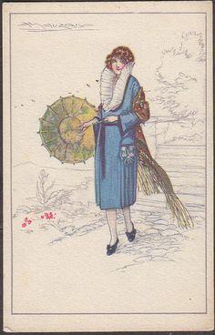 X1753 Mauzan Postcard Deco Woman Italian 544 4 | eBay
