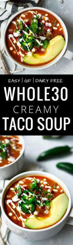 Easy Whole30 Taco Soup. This healthy whole30 taco soup is gluten free, dairy free, paleo and super quick to make. Whole30 taco soup recipe. Crock pot, slow cooker, instant pot soup recipes. Quick whole30 dinners! Whole30 recipes.  via @themovementmenu
