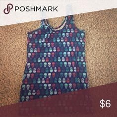 Skull tank top This cute tank top is perfect condition only worn once, blue with colorful skull print Tops Tank Tops