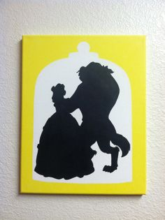Disney Silhouette Painting  Beauty and the Beast by EtchyDisney, $30.00