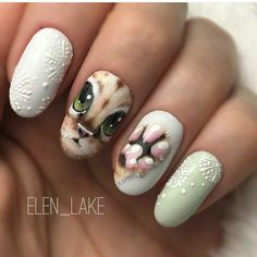 Christmas nails, Nails with animals, New Year nails 2018, New year nails ideas 2018, New years nails, Party nails, Snowflake nail art, Snowflakes on nails
