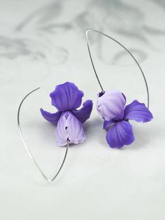 Hey, I found this really awesome Etsy listing at https://www.etsy.com/listing/489854257/iris-flower-earrings-in-shades-of-violet