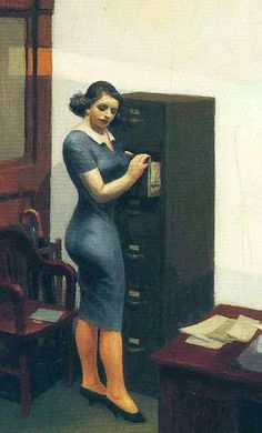 "Oficina en la noche "" (detalle), 1940, Edward Hopper ."