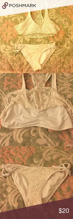 Cream Bikini Set Worn once and in very good condition. The detail is so girly and sweet 💕 size S both top and bottom. Swim Bikinis